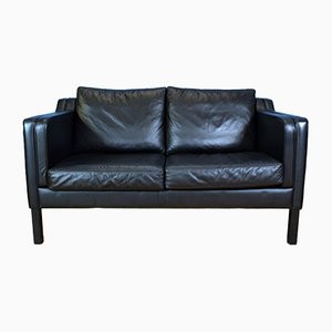 Vintage Danish Black Leather 2-Seat Sofa, 1970s