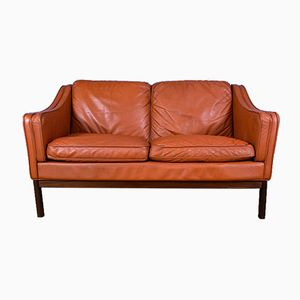 Danish Beech & Tan Leather 2-Seater Sofa, 1970s