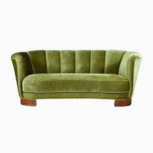 Dänisches Vintage Art Deco Banana Sofa aus Buche & Veloursleder