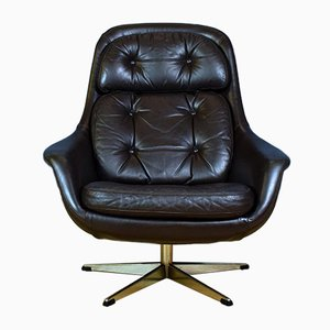 Danish Leather and Metal Swivel Lounge Chair by H. W. Klein for Bramin, 1960s