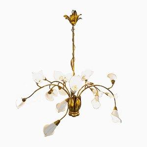 Lámpara de araña Mid-Century de latón de Angelo Lelli, años 50