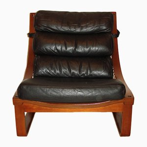 Vintage Model T4 Leather and Teak Armchair by Fred Lowel for Tessa, 1970s