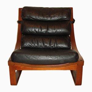 Vintage Modell T4 Armlehnstuhl aus Leder und Teak von Fred Lowel für Tessa, 1970er