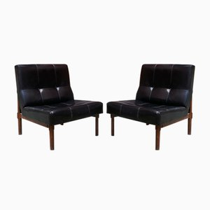 Italian Leather & Walnut Model 869 Chairs by Ico Parisi for Cassina, 1950s, Set of 2