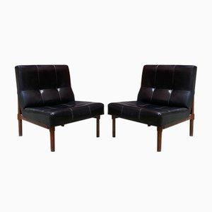 Italienische Modell 869 Stühle aus Leder & Nussholz von Ico Parisi für Cassina, 1950er, 2er Set