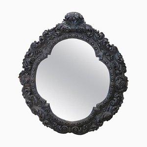 Specchio da parete grande antico in legno di noce intagliato, fine XIX secolo