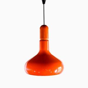 Lámpara de techo italiana vintage de plástico naranja de Guzzini, años 70
