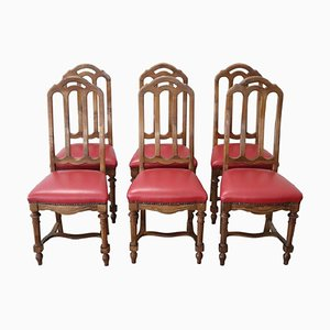Antique Walnut Chairs, 1880s, Set of 6