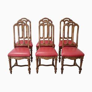 Chaises Antiques en Noyer, 1880s, Set de 6