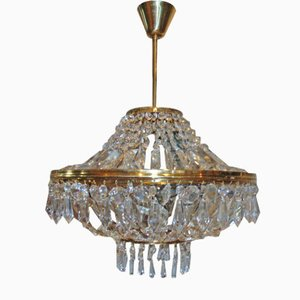 Glass and Brass Chandelier from Jablonecke Sklarny, 1970s