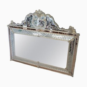 Large Italian Murano Glass Wall Mirror, 1930s