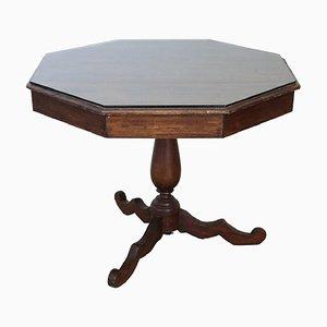 Tavolo esagonale antico in pioppo, fine XIX secolo