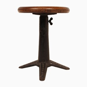 Industrial Wrought Iron Stool from Singer, 1930s