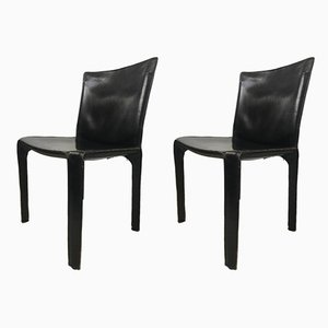 Italian Cow Leather Dining Chairs by Mario Bellini for Cassina, 1970s, Set of 2