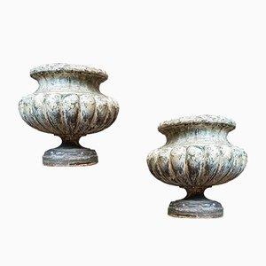 Vasi da fiori antichi in ghisa smaltata, fine XIX secolo, set di 2