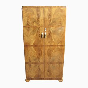 Vintage Art Deco Burr Walnut Wardrobe, 1930s