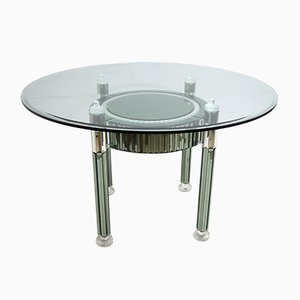 Round Italian Modern Crystal and Mirrored Glass Dining Table by Zelino Poccioni for MP-2, 1980s