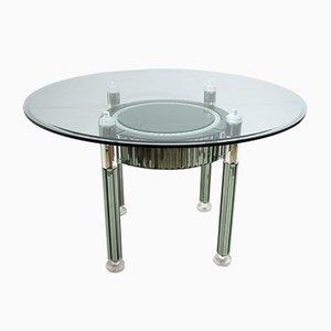 Tavolo da pranzo rotondo moderno in cristallo e vetro specchiato di Zelino Poccioni per MP-2, Italia, anni '80