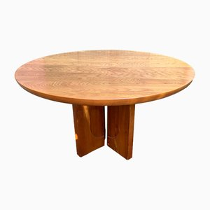 French Elm Dining Table from Maison Regain, 1980s