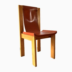 French Leather & Elm Dining Chairs from Maison Regain, 1980s, Set of 4
