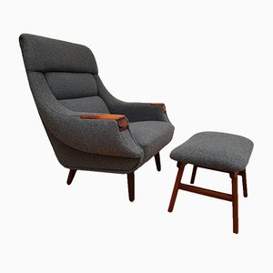 Scandinavian Modern Danish Rosewood and Wool Armchair by H. W. Klein for Bramin, 1960s