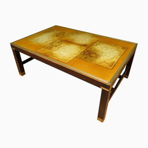 Vintage Brass and Wood Map Coffee Table, 1970s