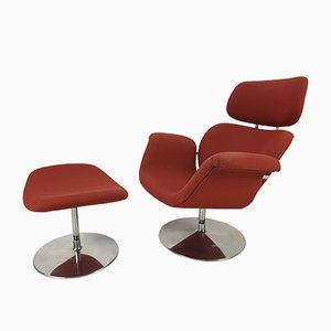 Vintage Fabric & Metal Tulip Chair & Ottoman by Pierre Paulin for Artifort, 1980s