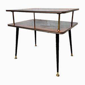 Mid-Century Brass and Wood Side Table, 1950s