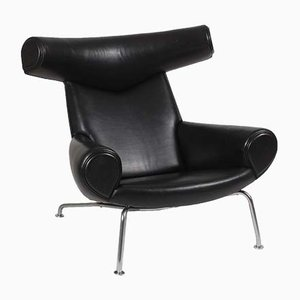 Danish Leather and Steel Lounge Chair by Hans J. Wegner for AP Stolen, 1970s