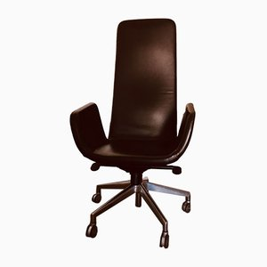Italian Modern Leather Desk Chair by Alfredo Haberli for Zanotta, 2000s