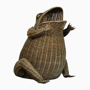 French Wicker Frog Magazine Rack by Olivier Cajan, 1970s