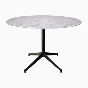 Tavolo da pranzo Mid-Century in metallo e marmo, anni '50