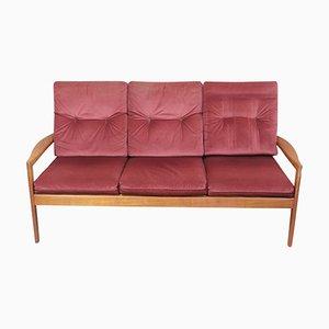 Skandinavisches 3-Sitzer Sofa mit Gestell aus Teak, 1960er