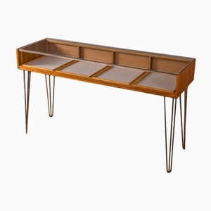Mid-Century Industrial German Glass and Oak Counter from Rürup, 1950s