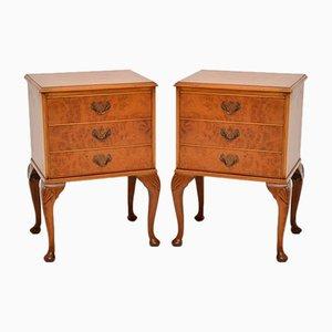 Vintage Queen Anne Style Walnut Burr Dressers, 1930s, Set of 2