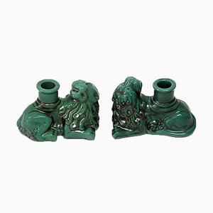 Green Lion Candleholders from Upsala Ekeby, 1940s, Set of 2