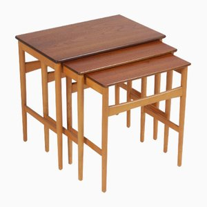 Danish Beech and Teak Nesting Tables by Hans J. Wegner for Andreas Tuck, 1970s