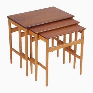 Tavolini ad incastro in faggio e teak di Hans J. Wegner per Andreas Tuck, Danimarca, anni '70