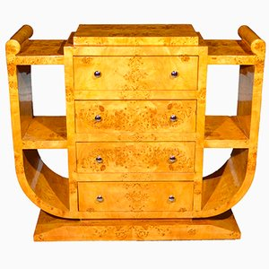 Consola Art Déco de madera de arce con cajones