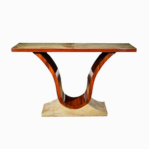 Art Deco Rosewood and Parchment V Console Table