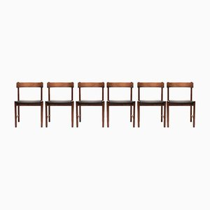 Danish Leather and Rosewood Dining Chairs, 1960s, Set of 6