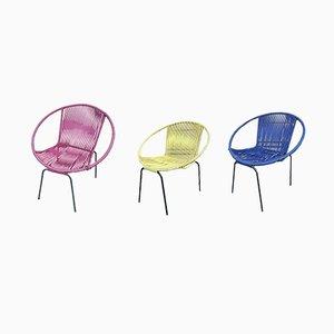 Moderne italienische Esszimmerstühle aus Eisen & Kunststoff, 1970er, 3er Set