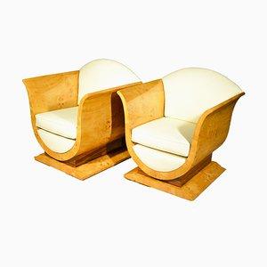 Art Deco Maple Tulip Armchairs, Set of 2