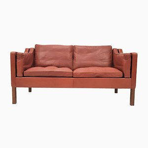 Danish 2212 Leather & Mahogany Sofa by Børge Mogensen for Fredericia, 1960s