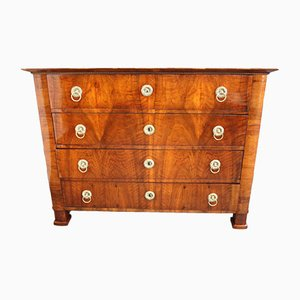 Antique Biedermeier Brass and Walnut Dresser