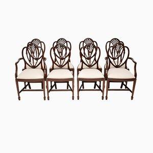 Chaises de Salle à Manger Style Georgien Vintage en Acajou, 1920s, Set de 8