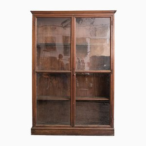Antique Industrial Glass and Wood Cabinet