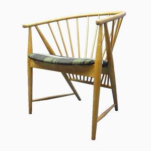 Skandinavischer moderner Sessel aus Buchenholz & Teak mit Federbezug von Sonna Rosén für Nässjö Stolfabrik, 1948