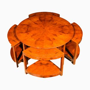 Round Art Deco Walnut Nesting Tables