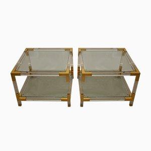 Beistelltisch aus Plexiglas mit goldenen Kanten von Charles Hollis Jone, 1970er